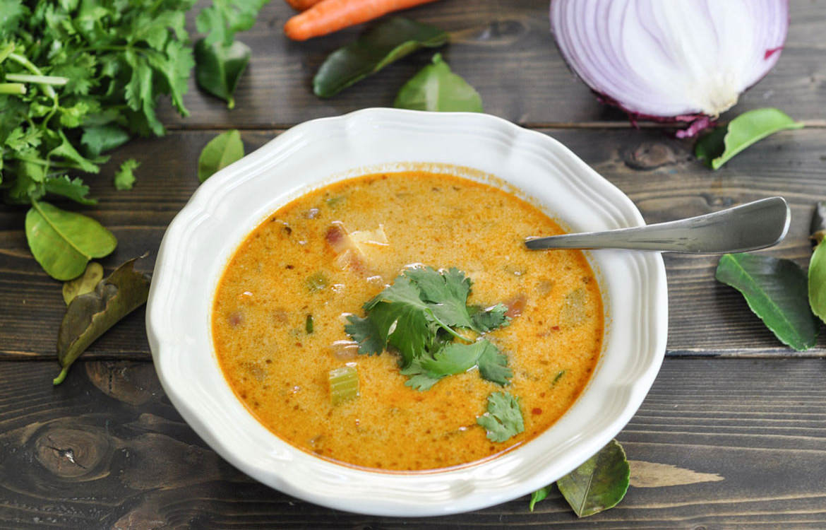 Thai red curry soup with chicken